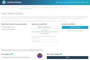 Capture d'écran du site myetherwallet.com