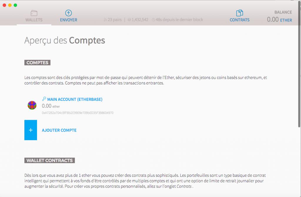 Ethereum Wallet - Comptes