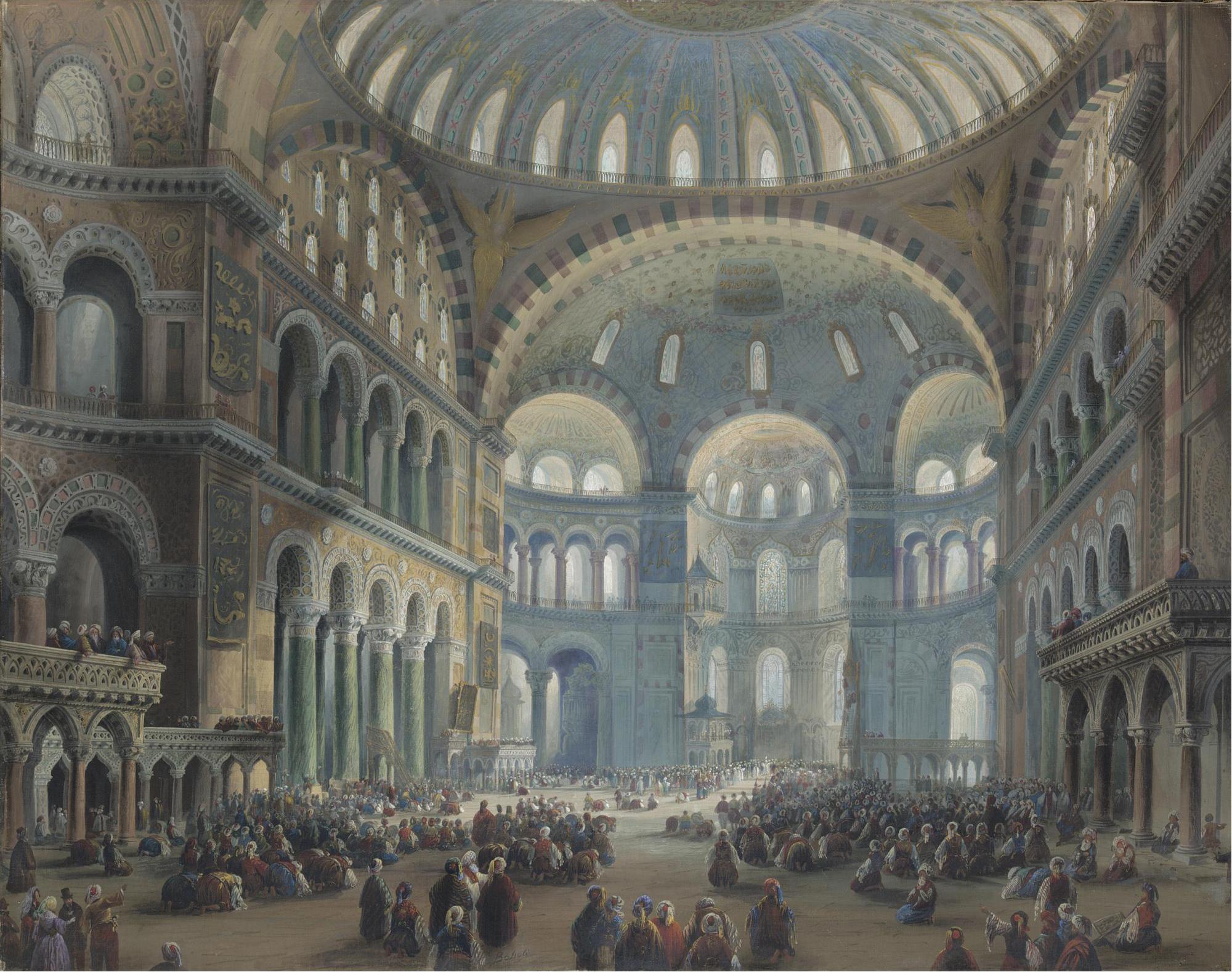 Carlo Bossoli - Intérieur de Sainte Sophie à Constantinople - 1839