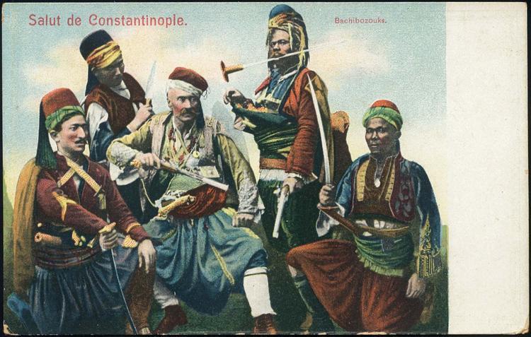Carte postale de Constantinople avec un groupe de Bachibouzouke.jpg